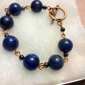 Copper Lapis Lazuli Toggle Bracelet